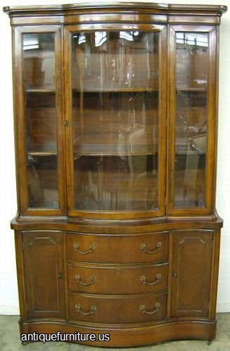 Antique Mahogany Curved Glass China Cabinet at Antique FurnitureUS