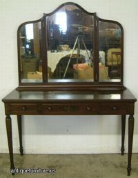 Antique Burl Mahogany Paint Decorated Dressing Table at ...