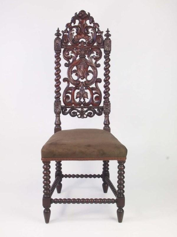 Tall Pair Antique Victorian Gothic Oak Chairs