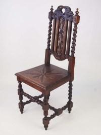 Pair Antique Victorian Gothic Oak Hall Chairs