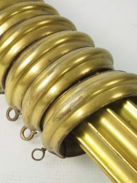 Large Vintage Brass Curtain Pole with Rings