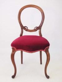 Pair Antique Victorian Walnut Balloon Back Chairs