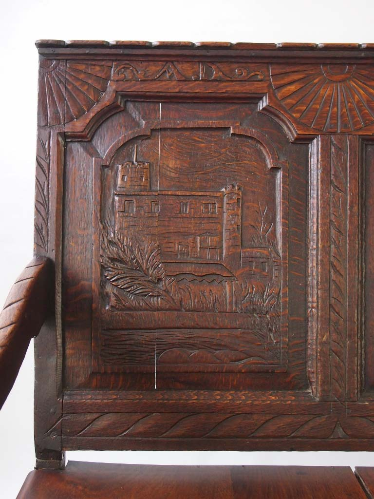 church chairs direct wall hugger recliner uk antique carved oak settle / hall seat