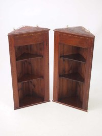 Pair Edwardian Hanging Corner Cabinets / Tall Shelf Unit