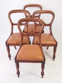 Set 4 Antique Victorian Mahogany Balloon Back Chairs
