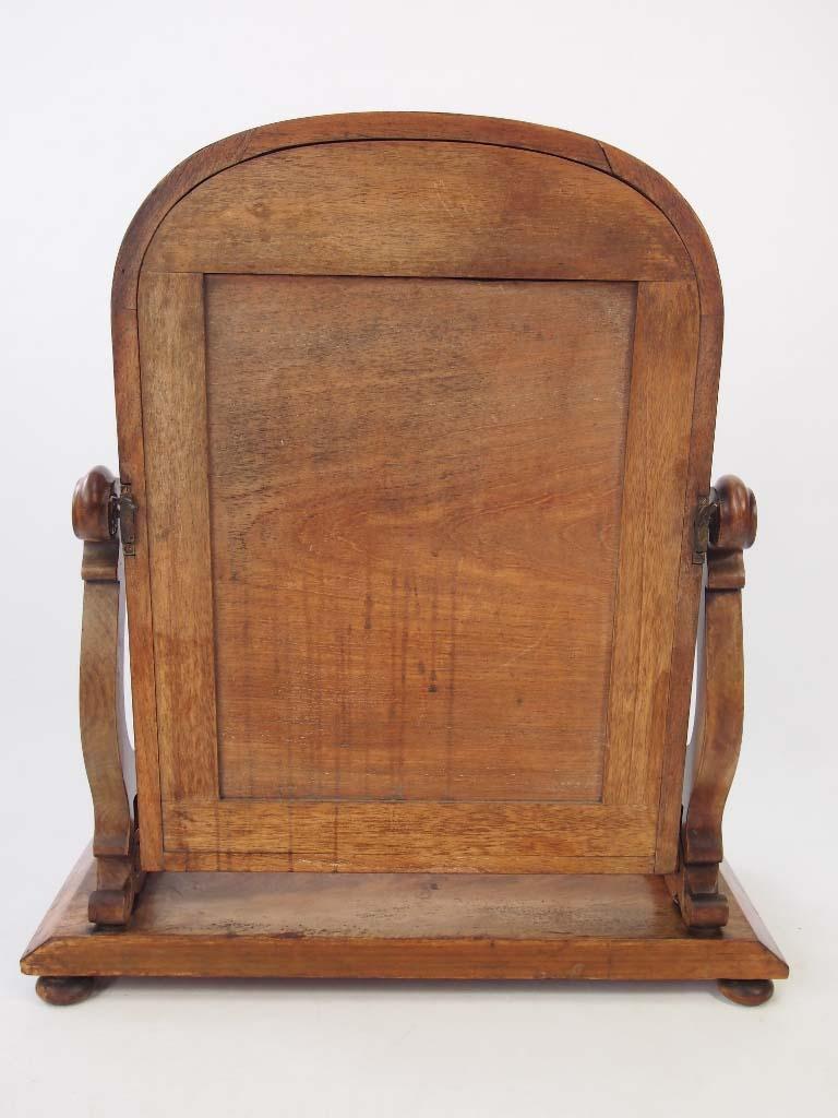 Antique Victorian Mahogany Toilet Mirror With Label