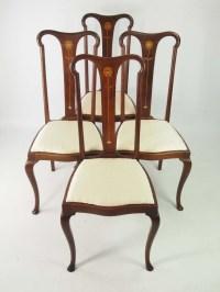 Set 4 Antique Edwardian Art Nouveau Dining Chairs