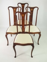 Set 4 Antique Edwardian Art Nouveau Dining Chairs