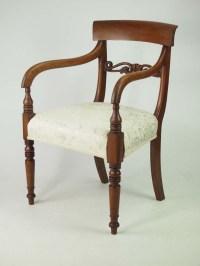 Antique Victorian Mahogany Desk Chair / Open Armchair