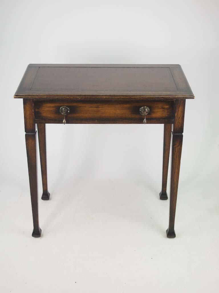 Small Edwardian Arts  Crafts Oak Writing Desk with Label
