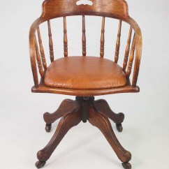 Swivel Tub Chairs How Much To Reupholster A Dining Room Chair Antique Edwardian Oak With Leather Seat