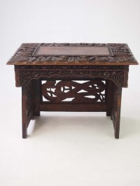 Small Vintage Chinese Coffee Table - Dragon Carved Side ...