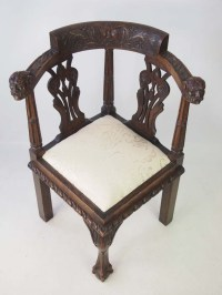 Antique Victorian Oak Corner Chair Carved with ...
