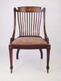 Victorian Inlaid Mahogany Tub Chair / Dressing Table Chair