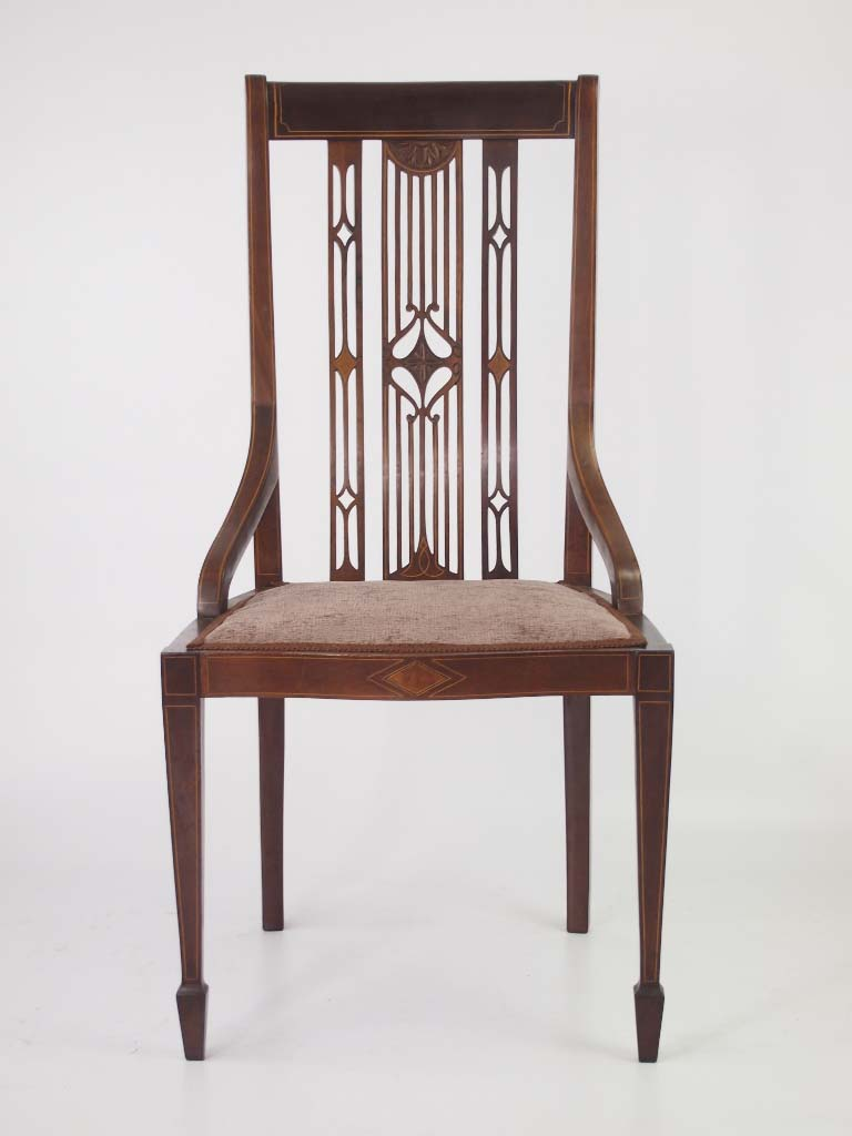 Edwardian Mahogany & Inlaid Dressing Table Chair