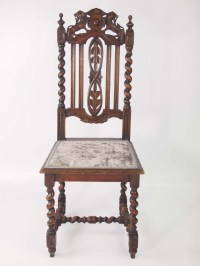 Pair of Antique Victorian Gothic Oak Chairs