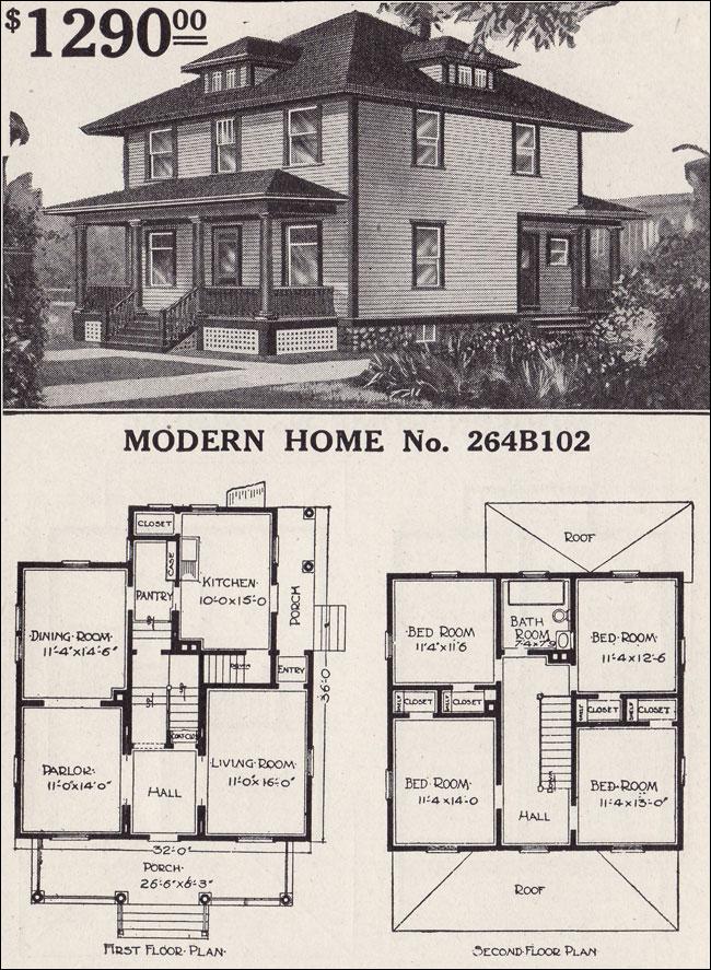1916 Sears House Plans Modern Home 264B102 Prairie Box Foursquare