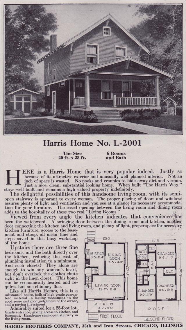 Plan L 2001 1918 Harris Bros Co Kit Houses Two Story