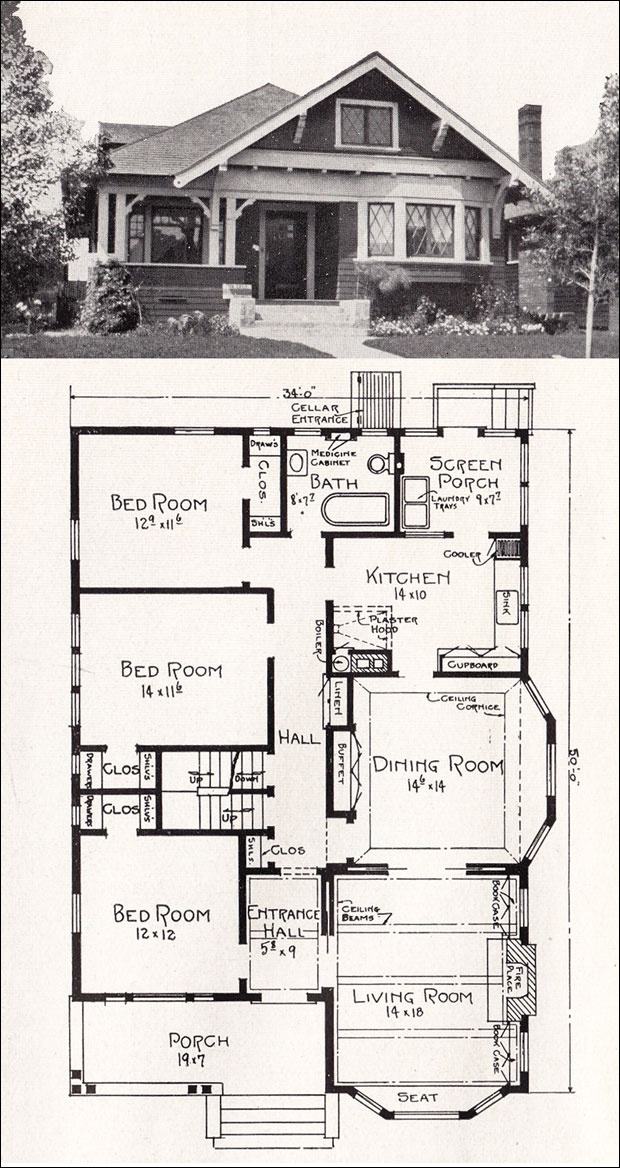 Transitional Bungalow Floor Plan C 1918 Cottage House Plan By E W Stillwell Vintage Los