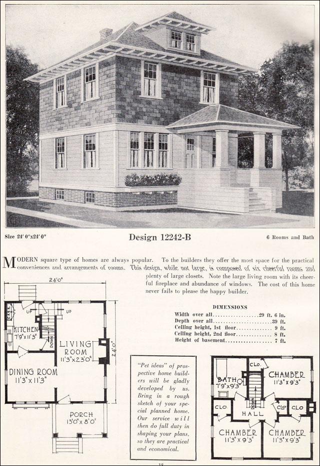 American Foursquare Pyramidal Roof C 1923 C L Bowes