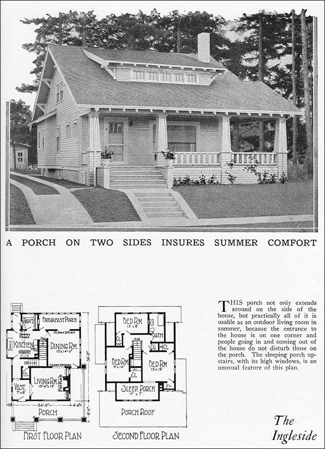 1925 The Ingleside Bungalow  Radford House Plan  Home
