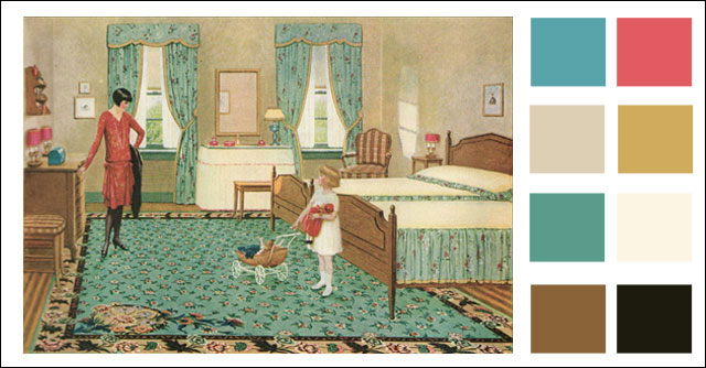 1928 Pastel Turquoise Bedroom 1920s Style Decorating