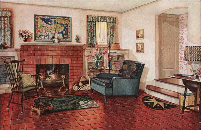 1928 Armstrong Traditional Living Room 1920s Colonial