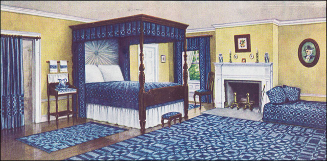 1910 Blue White And Yellow Colonial Bedroom Ladies