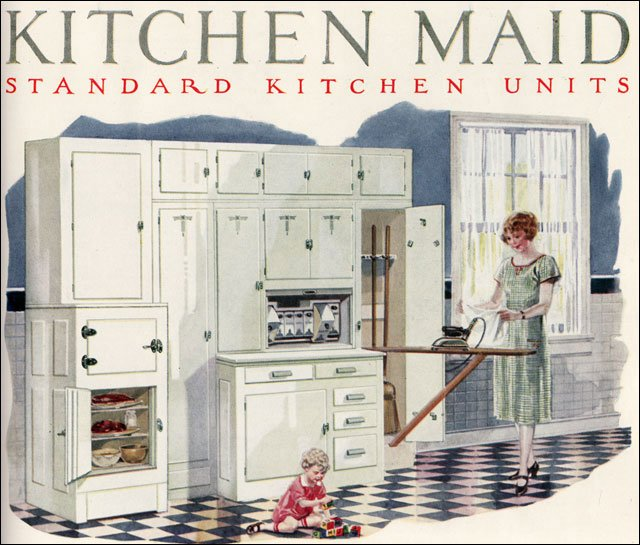 kitchen maid cabinets marble table set 1924 cabinetry 1920 built in center 20s this all one was a housewife s dream work space her necessary supplies for fair number of daily chores were designed to be at arm