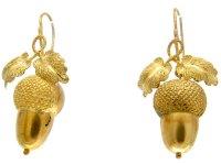 Victorian Acorn Drop Gold Earrings - The Antique Jewellery ...