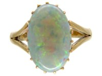 Opal Single Stone Gold Ring - The Antique Jewellery Company