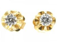 Single Stone Diamond Earrings - The Antique Jewellery Company