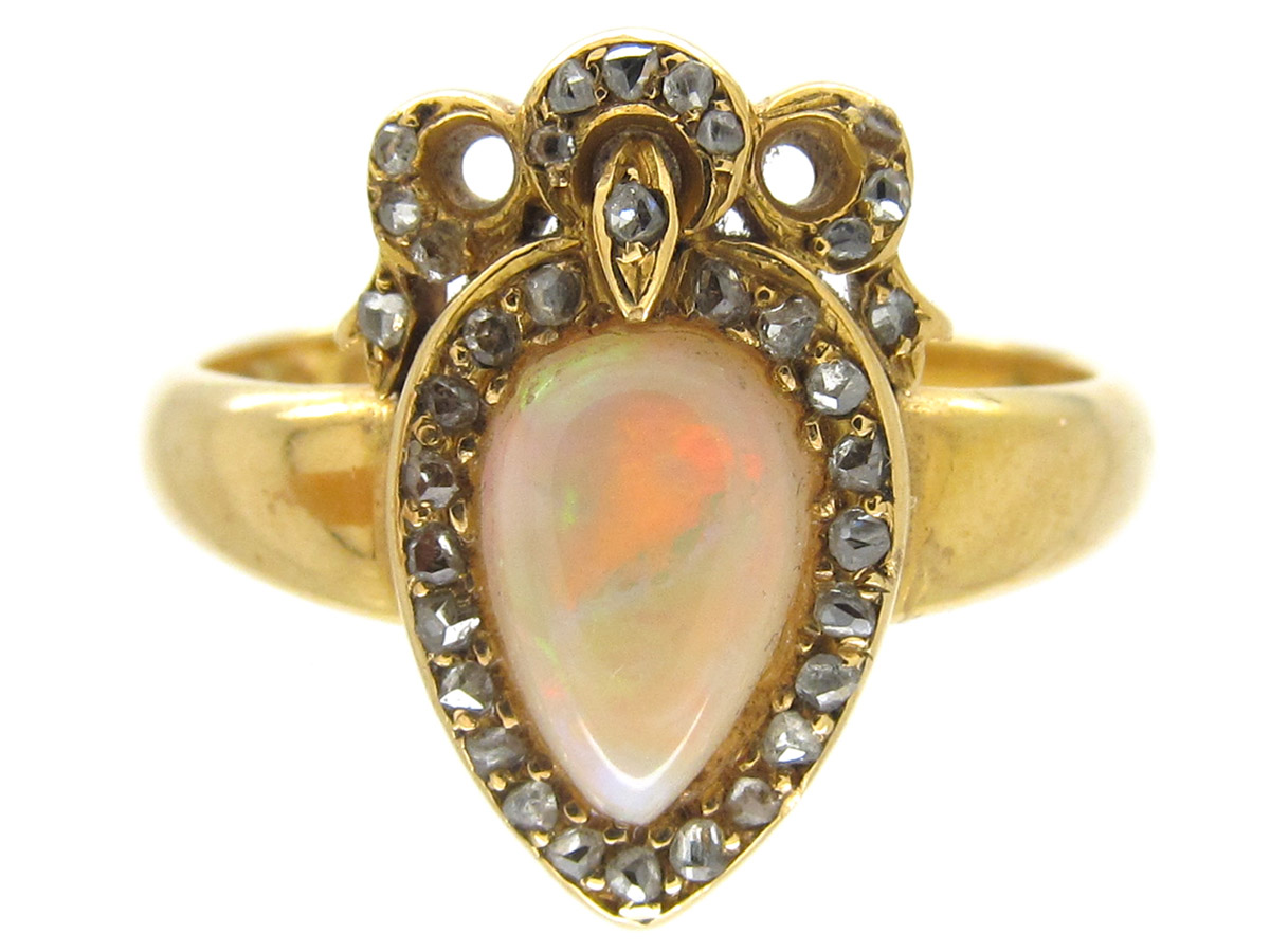 Victorian Heart Shaped Opal  Diamond Ring  The Antique