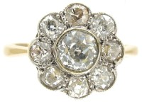 Edwardian Daisy Diamond Cluster Ring - The Antique ...