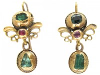 Georgian 18ct Gold, Emerald & Ruby Earrings - The Antique ...