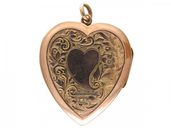 Large 9ct Gold Heart Locket - Antique Jewellery Company
