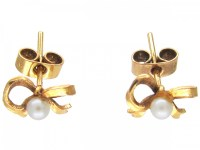 9ct Gold Bow Earrings - The Antique Jewellery Company