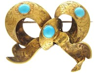 Victorian 15ct Gold & Turquoise Bow Brooch - The Antique ...