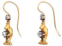 Edwardian 18ct Gold & Diamond Bear Earrings - The Antique ...