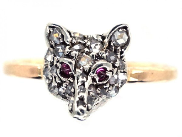 Diamond Fox Head Ring - Antique Jewellery Company