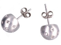 18ct White Gold & Diamond Ball Earrings - The Antique ...