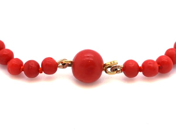 Victorian Natural Red Coral Bead Necklace - Antique