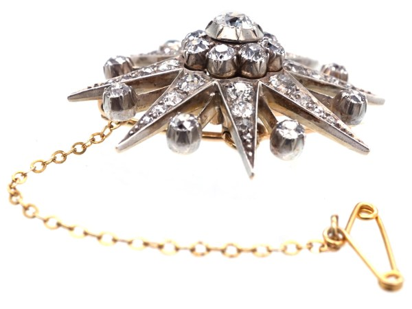 Victorian Diamond Set Star Brooch Pendant - Antique