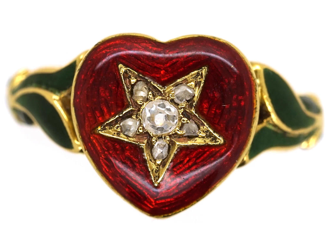 18ct Gold Red  Green Enamel  Diamond Heart Shaped Ring  The Antique Jewellery Company