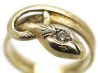 Edwardian 14ct Gold Snake Ring Set With a Diamond - The ...