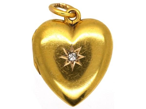 Edwardian 15ct Gold Heart Locket Set With Diamond