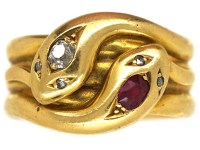 Victorian 18ct Gold, Ruby & Diamond Double Snake Ring ...