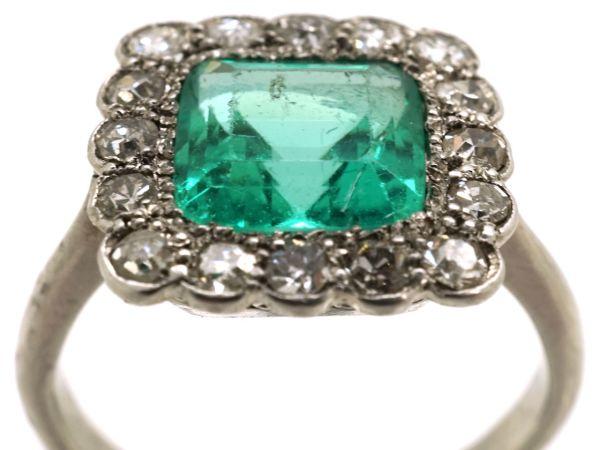 Art Deco Platinum Emerald & Diamond Square Ring