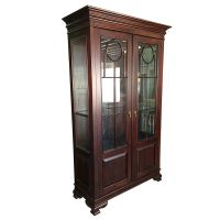 Antique Style Solid Mahogany Wood Display Glass Cabinet