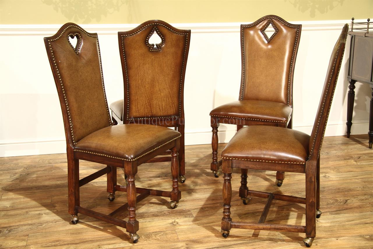 poker chairs with casters office chair big w mahogany and walnut 10 person leather top games table
